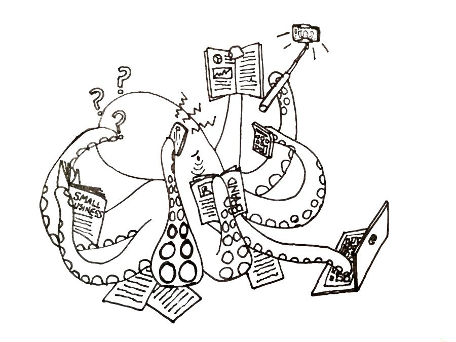 an octopus with tentacles trying to manage social media posts, website, billing, branding and marketing